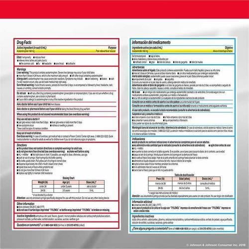 suspension oral tylenol infant's para bebes, 2 unidades