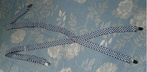 suspensório quadriculado preto e branco adulto