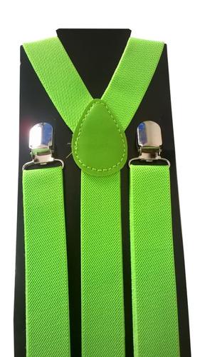 suspensório verde limão de elástico ajustável adulto juvenil