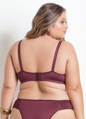 86fab30a4 Sutiã Com Bojo Plus Size Bordô Christian Gray - R  149