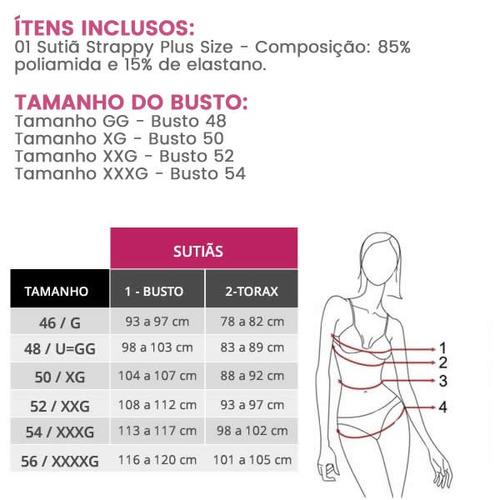 ba169ef45d64b7 Sutia Plus Size Reforcado Com Bojo Strappy Com Tirinhas - R$ 64,90 ...