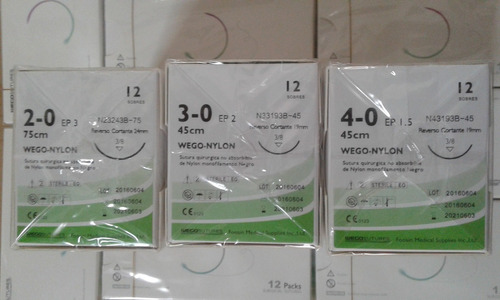 sutura nylon 2/0,3/0,4/0 c/aguja (venta min. 120 unid)