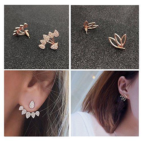 suyi fashion hollow lotus flower pendientes crystal simple