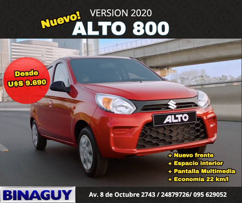 suzuki alto 800 version 2020 /  ga dir. y aire / u$s 9,690!