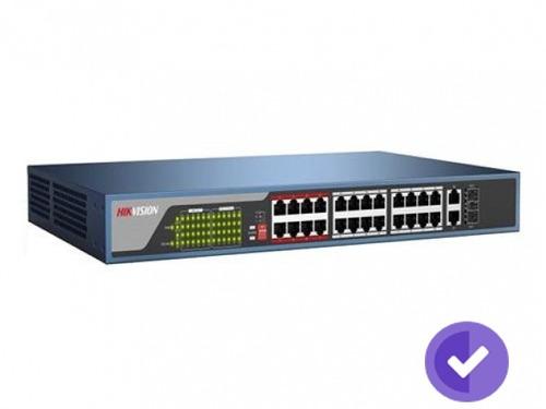 sw hikvision 24-port 10/100 mb/s poe