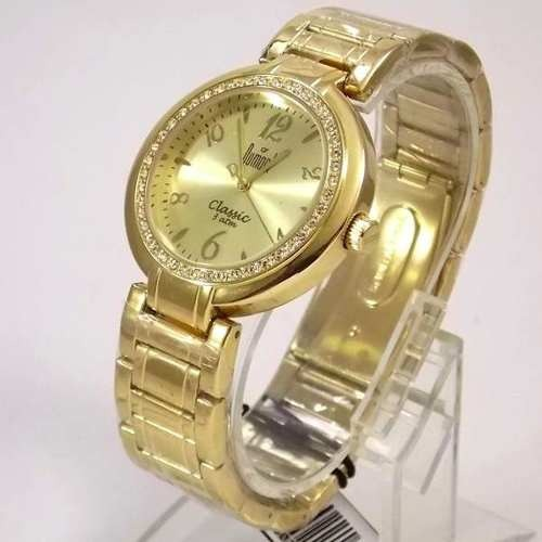 e74dee0d978 Sw85026p Relógio Feminino Dourado Dumont Cristais Swarovski - R  254 ...