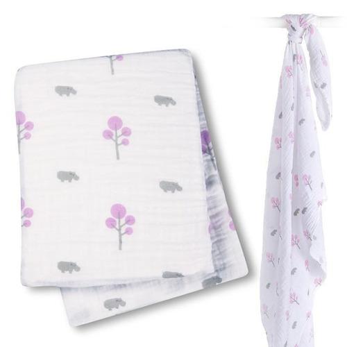 swaddle 100% muselina  hipopotamos rosas lulujo