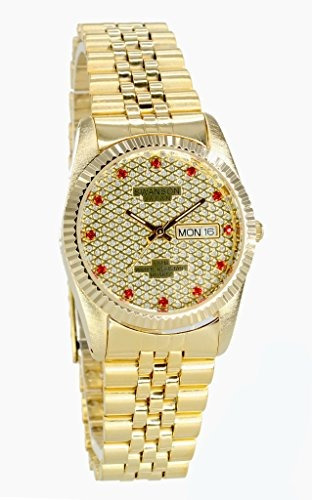 swanson japan men.s gold day-date watch red stone gold dial