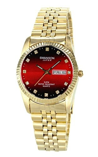 swanson men.s gold day-date watch stone blood red dial