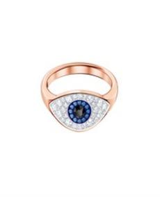 762825edbc5c Swarovski Anillo Duo Evil Eye, Multicolor Baño Oro Mujer