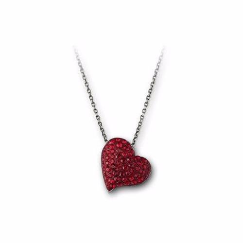 swarovski cadena con dije corazón colores rojo y rosado