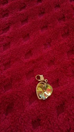 swarovski - heart gold charm