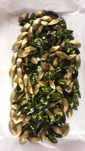 swarovski legitimo 130 pedras navete 15x7mm olivine / gold