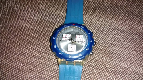 swatch blue ring sbk117 ag 1996 cronografo