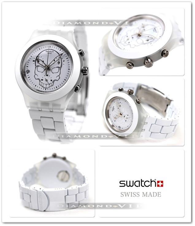 cd5092bf388 swatch feminino relógio · relógio swatch original irony skull feminino  branco caveira