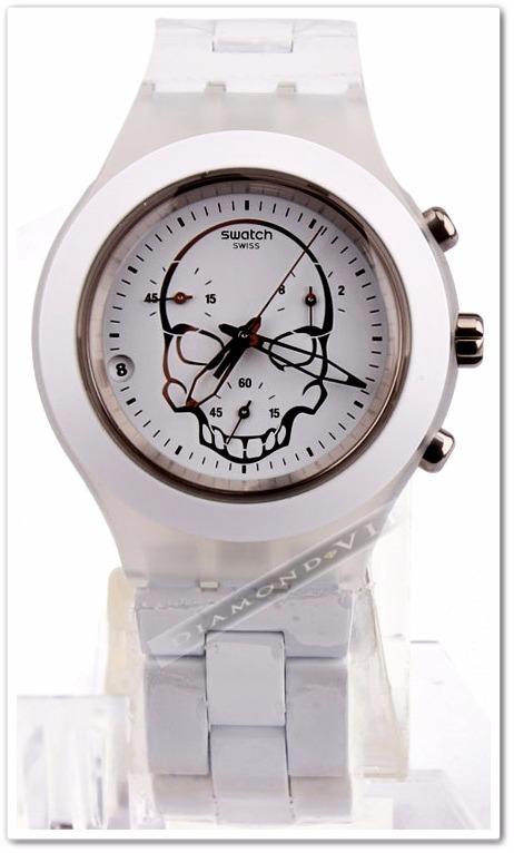 78ee243074d swatch feminino relógio 4 relógio swatch original irony skull feminino  branco caveira