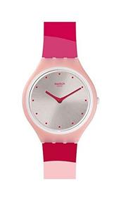 Silicone Svop101 Swiss Quartz Skinset Pink Swatch Reloj lJTK1Fc