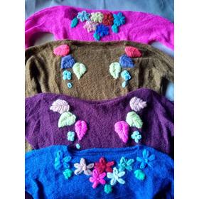 Sweater Bordado A Mano Mohair Hermoso Super Delicado