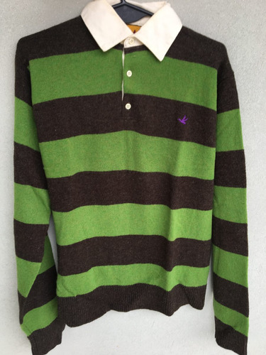 sweater brooksfield rayado marrón y verde - talle l