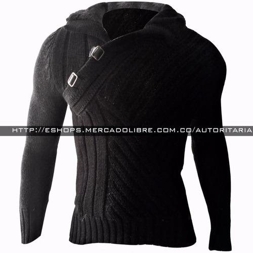 sweater buso hombre, slim fit, moda cuello alto hilo spandex