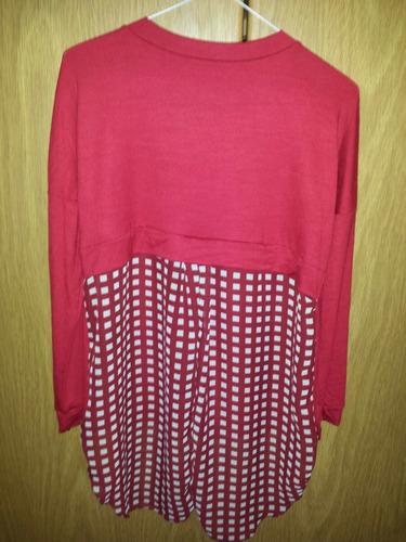 sweater camiseta de algodón con cola larga de gasa