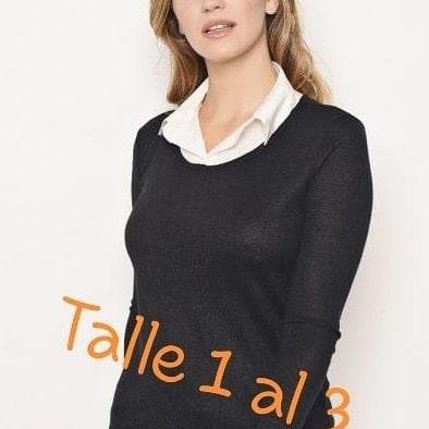 Con De Blanca Mujer Camisa Sweater YTxgOw00