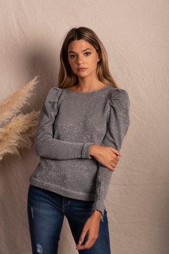 sweater con lúrex manga jamón