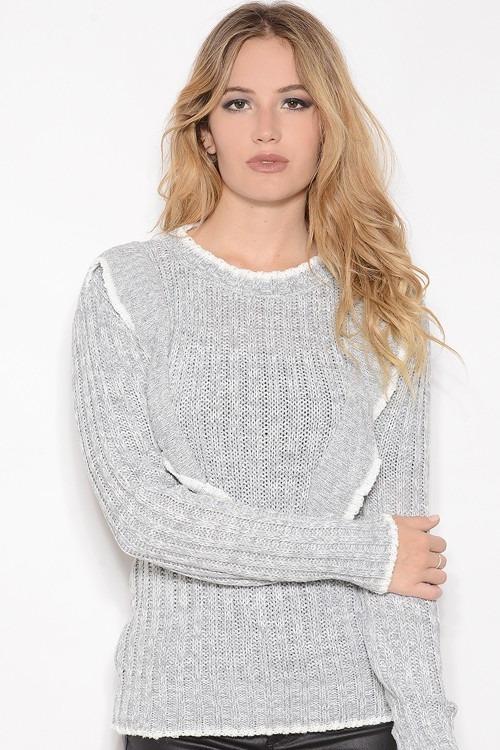 Sweater De Mujer Tejido Con Volados Gris Melange -   499 54d4102ef77c