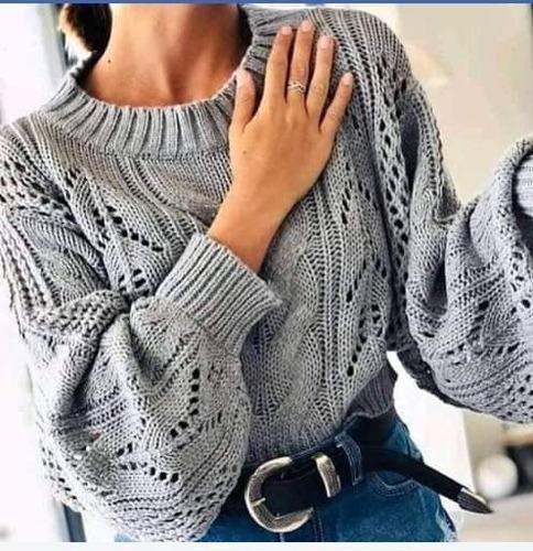 sweater gris talle único