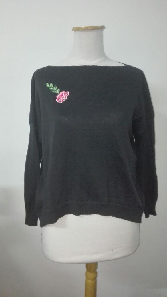 Sweater Hilo Algodón Verano Negro Cuello Bote