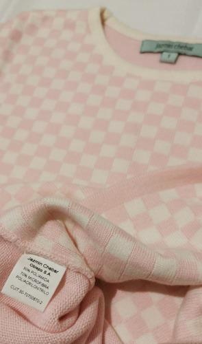 sweater jazmin chebar rosa cuadros impecable, muy fino!!