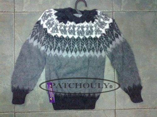 sweater lana alpaca pullover artesanal talle s/m cap. fed.
