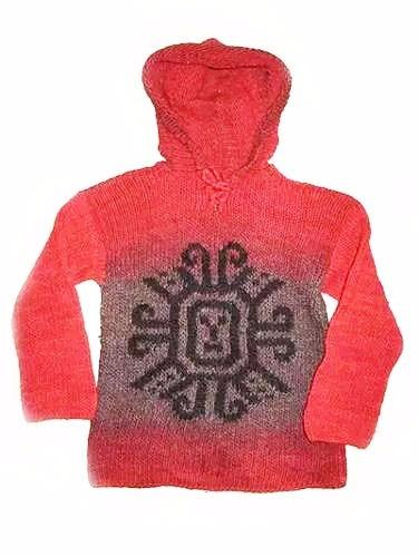 sweater lana niño color rojo motivo etnico