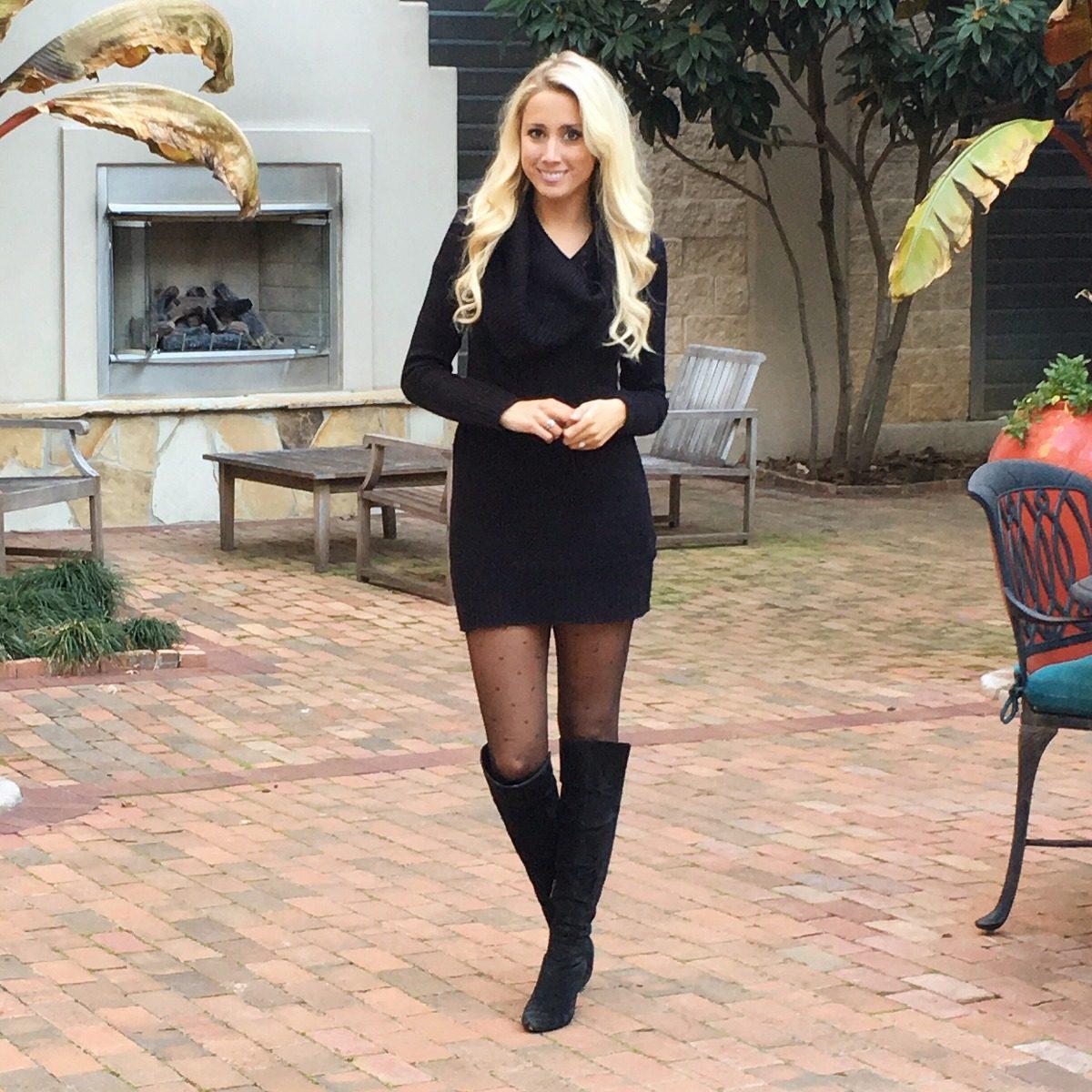 Como usar un vestido negro en invierno