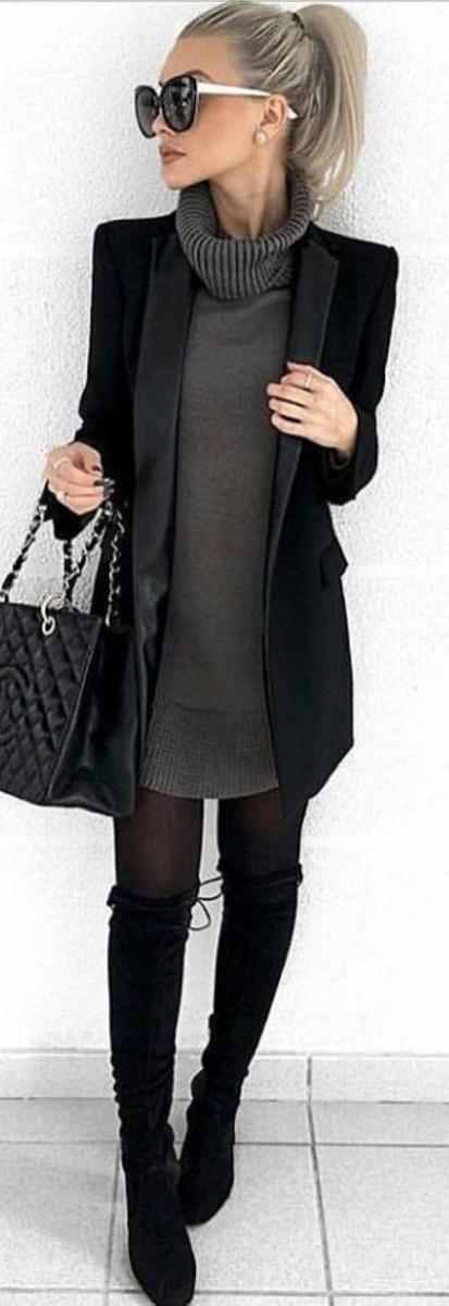 Vestido negro largo invierno
