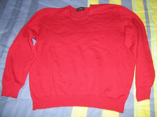 sweater mujer lana rojo cuello redondo