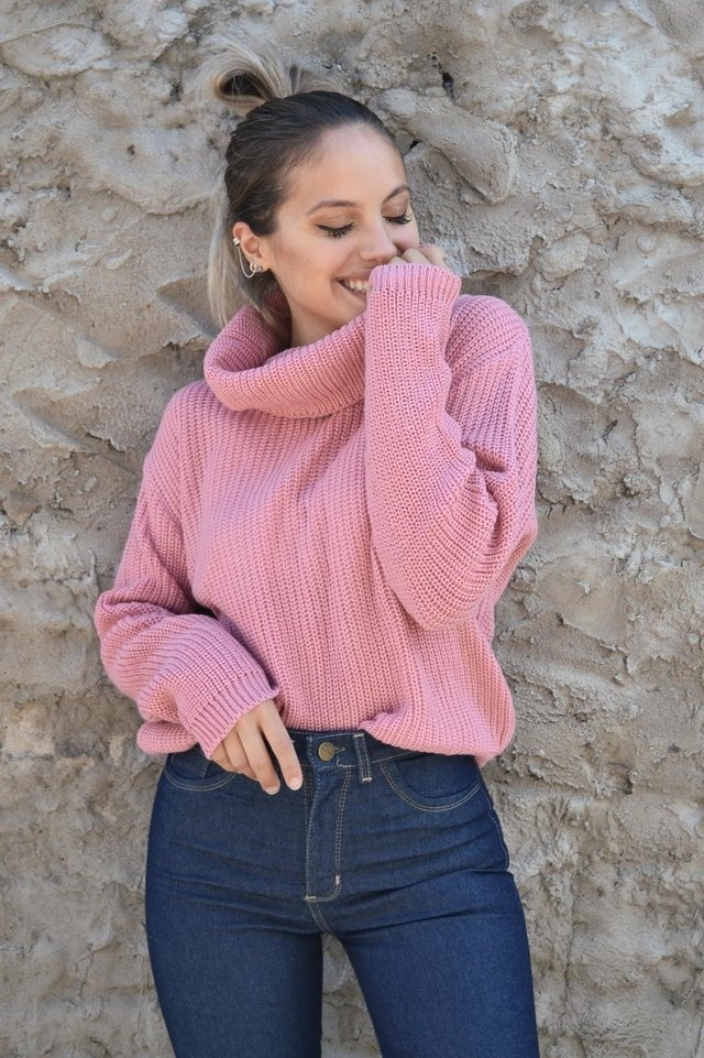 sweater mujer lana tejido cuello buche otoño invierno 2019. Cargando zoom.