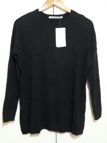 sweater mujer mangas fit punto liso negro zara knit t.36*38