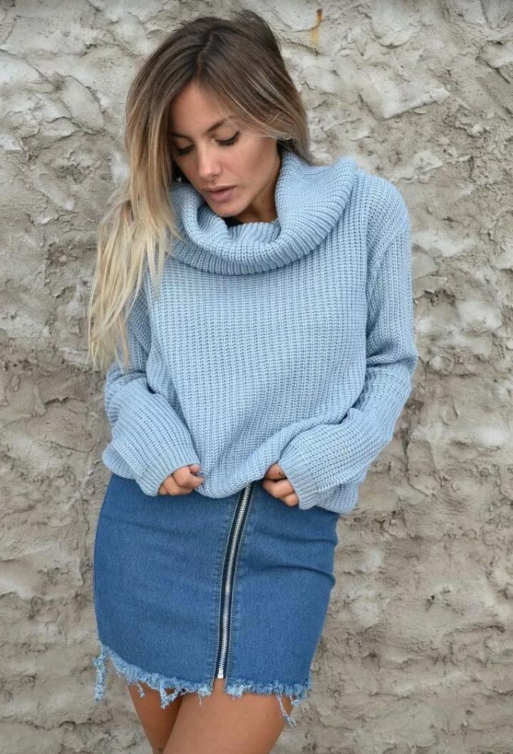 sweater mujer tejido lana cuello buche otoño invierno 2019. Cargando zoom.