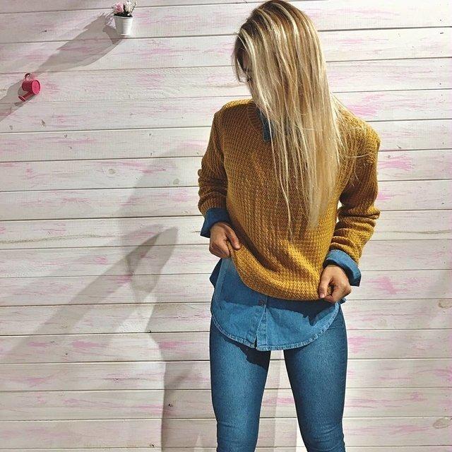 sweater mujer tejido punto detenido otoño invierno 2019