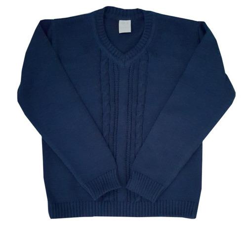 sweater para niños color azul t.4-marca pompas