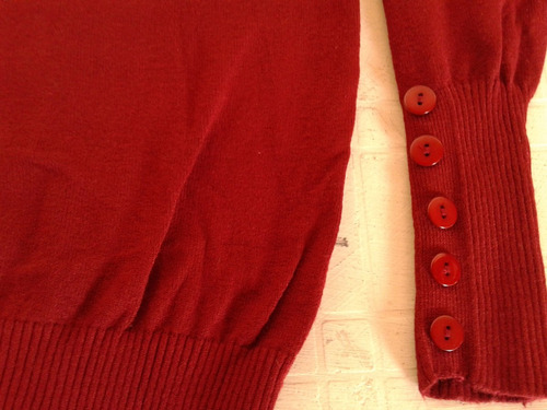 sweater polera rojo de rayon talle s impecable!