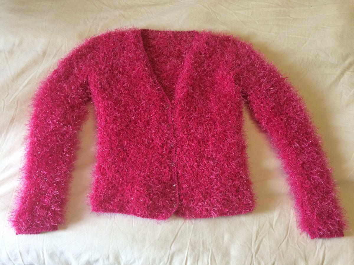Sweater Pullover Saco Lana Tejido A Mano Pelo Mono Fucsia 89b3ed694224