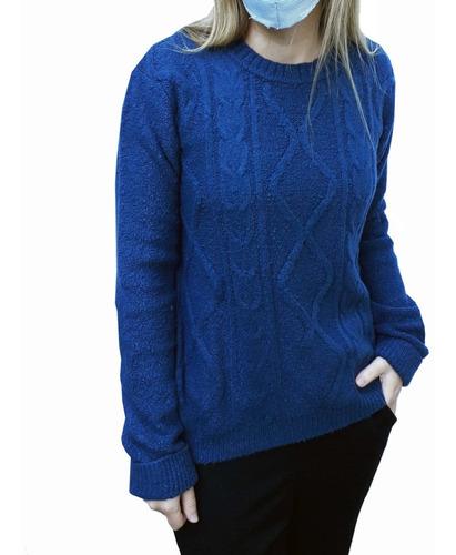 sweater pulouver tejido cuello redondo trenza mujer