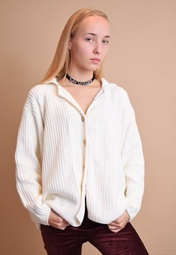 Sweater Saco Cardigan Beige Botones Flores Vintage 90s Mujer -   350 ... f0a4fca31ade