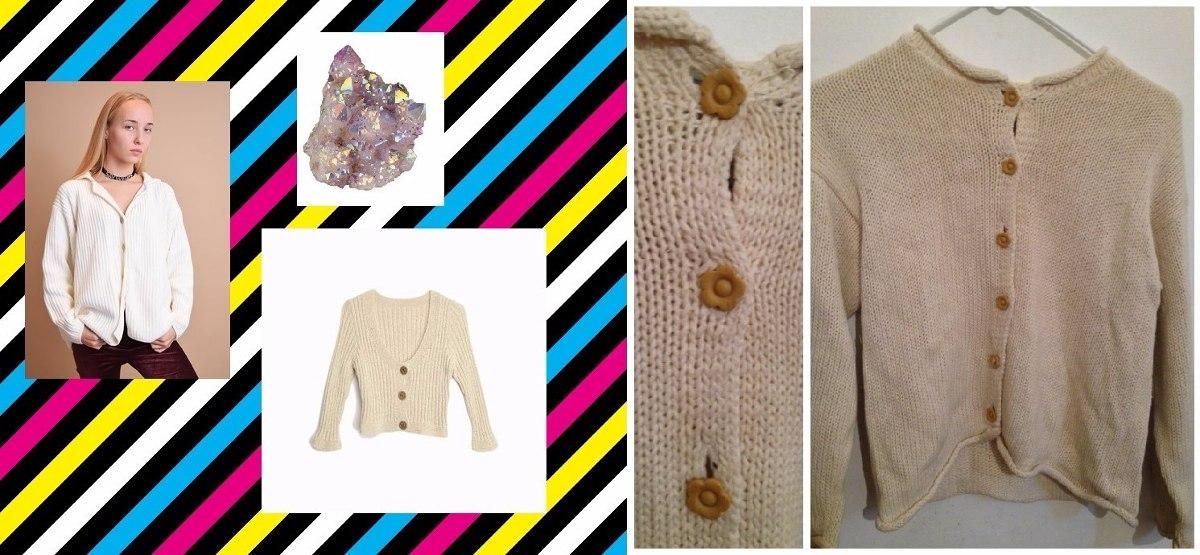 sweater saco cardigan beige botones flores vintage 90s mujer. Cargando zoom. 6a43d0eabb15