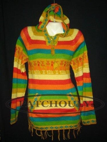 sweater shakira lana alpaca llama pullover capucha talle s/m
