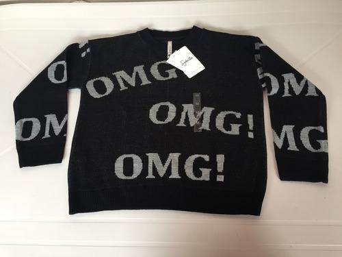 sweater sybilla omg negro y blanco t.m nuevo!