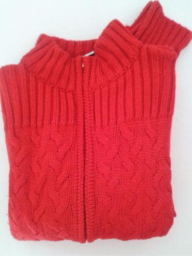 sweater system-basic campera tejida roja lana trenzada