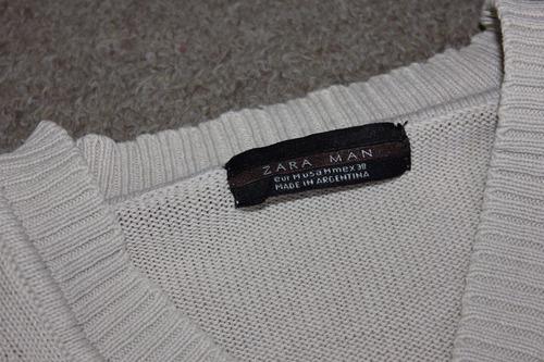 sweater zara beige escote en v